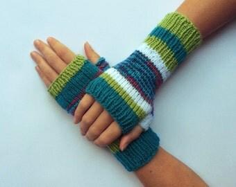 Knit fingerless gloves arm warmers fingerless mittens knit wrist warmers hand warmers blue green white