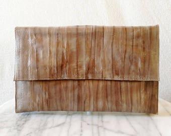 Vintage Grey Eel Skin Envelope Clutch / Purse