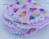 Baby Girl Reusable Cloth Burp Rags Pink, Cupcakes,  Baby Gift, Baby Shower Gift