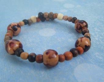 Boho Wood Bead Bracelet