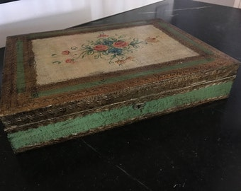 Beautiful Florentine Italian Box with Handpainted Floral Motif Made in Italy