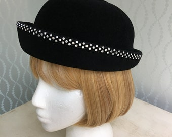Black Velvet Ladies Hat by Mr. Charles made in Italy