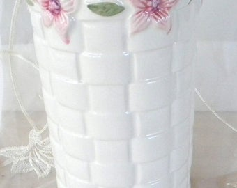 May Sale White Basket Weave Ceramic Vase with Pink Blossoms, Made in Portugal, Cylinder Vase, Perfect for Shabby Chic Decor