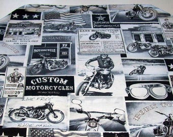 Motorcycle Newsprint Elongated Placemat - For Dad - with 2 matching Coasters - Black and White