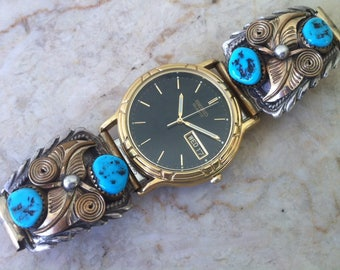 Vintage Southwest Band, Annie Chapo, GF Sterling Silver, Floral Turquoise Watch Tips, Black Dial Seiko Men's Watch, Day & Date, Gold Plate