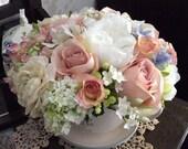 Artificial Silk Flower Large Teacup Planter Pink White Rose  Peony Arrangement