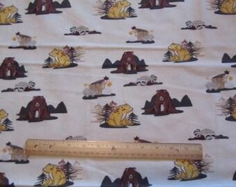 Cream Bear/Woodland Animal Flannel Fabric by the Yard