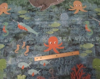 Blue Nautical/Sea Animals/Ocean Animals/Sailing Vertical Cotton Fabric by the Yard