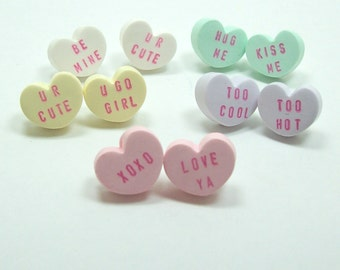 Conversation Heart Valentine Post Stud Earrings - You Pick Color and Sayings