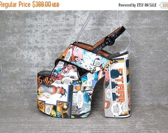 Vtg 90s Luichiny Comic Club Kids Monster Platform Sandals Shoes 7