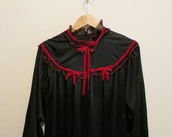 Robe black red velvet Vampira sheer night gown GOTH pinup bed jacket 1950s L