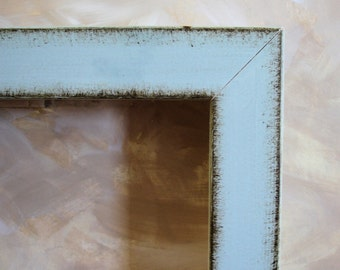Blue 8 x 8 wood handmade distressed modern picture frame square format
