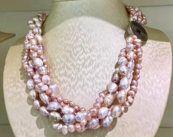 Natural blush pink freshwater pearl multi strand necklace / rose pink pearl necklace