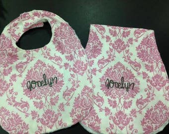 Pink Glitter Damask Bib & Burp Rag Set