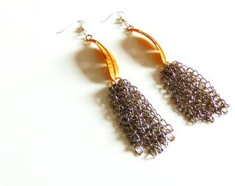 SALE Gold Feather Chain Earrings