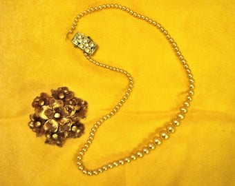 Vintage Simulated Pearl Necklace and Brooch, Necklace Clasp Broken