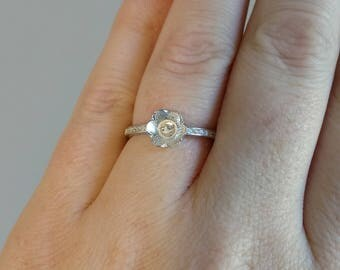MADE to ORDER!!!! Sterling Silver Adjustable Simple CZ Ring-- Made to order with your pearl from the Pearl Party!!