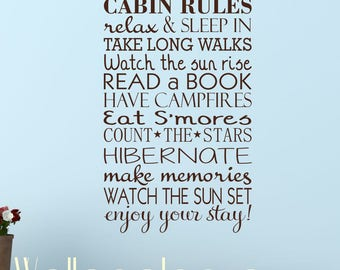 Cabin Rules, cabin rules decal, cabin wall decor, cottage decal, lake house decal, cabin sticker, lodge decal, house rules decal, cabin