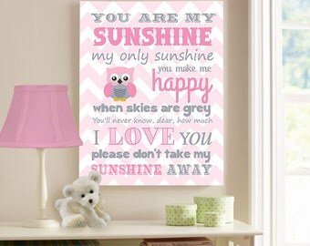 You Are My Sunshine Canvas Wall Art Pink and Gray Nursery or Kids Room, Sunshine Lyrics, Pink and Gray Owl Baby Girl Room Decor