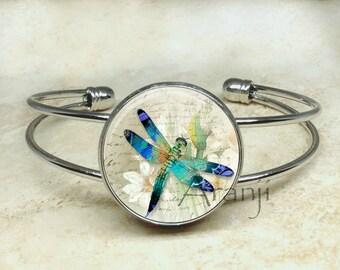 Dragonfly bracelet, dragonfly bangle, dragonfly art bracelet, dragonfly jewelry, Bracelet#AN205B