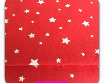 Cotton fabric with white stars on a red background, 50 cm