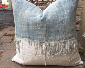 SALE !!!Faded Fringed African indigo pillow cover