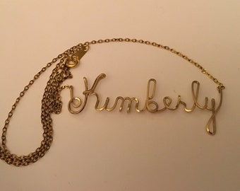 "Gold Filled name with 18"" Chain KIMBERLY IN SCRIPT Hand Made signed"
