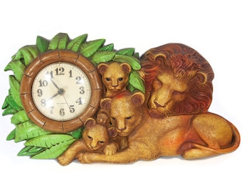 Vintage 70's Wall Hanging Clock Lion Family BURWOOD PRODUCTS COMPANY