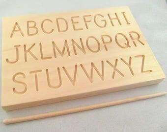 Travel Size Upper Case Alphabet Tracing Alphabet Rubbing board with wooden stylus - Montessori Alphabet - Special Needs Dexterity Board