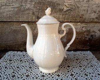 Vintage Tea Pot, White Ironstone, Alhambra Arita, Santa Clara, Spain, Farmhouse Decor, Earthenware, Serving Tea Pot, Plain White