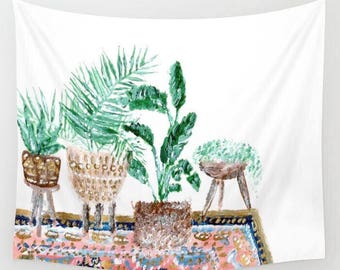 Plant Wall Tapestry, indoor jungle, boho wall tapestry, bohemian tapestry, palm leaf tapestry, banana leaf tapestry, gold white tapestry