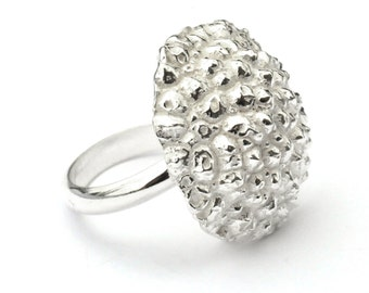 Beautiful Litchi sterling silver adjustable ring