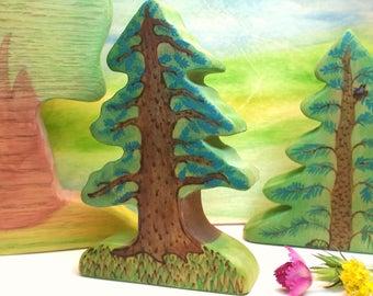 Poplar Wood Evergreen Woodland Tree, Waldorf Nature Table Decor, Wooden Waldorf Willow Tree, Wooden Dollhouse Landscape Willow Tree