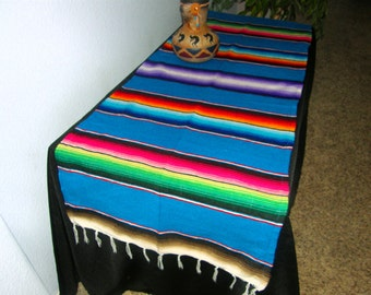Table Runner Caribbean Blue made from Mexican Serape Cloth - Stripes of other typical Mexican colors - Decorate or Party with this!