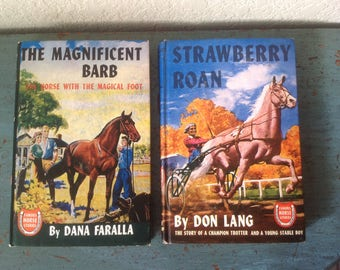 Famous Horse Stories series, set of 2 / The Magnificent Barb / Strawberry Roan / 1946, 1947 vintage children's books