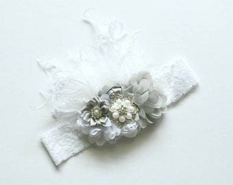 Silver and White Princess Headband Flower Boutique Headband Grey Baby Toddler Headband Flower Girl New Years Glitter Lace Ostrich Feathers