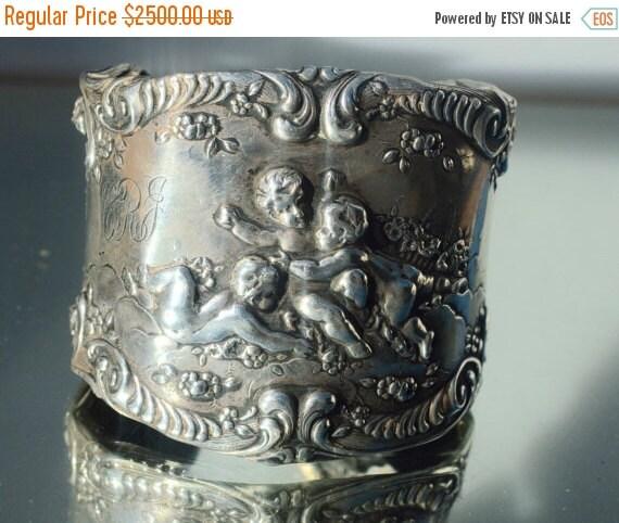 SALE 40% OFF Victorian Gorham Cupid Cherub Art Nouveau 925 Solid Sterling Silver Wide Cuff Bracelet Angel Renaissance .925