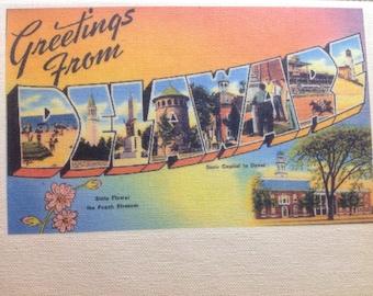 Delaware Kitchen Towel With VintageState Postcard Design