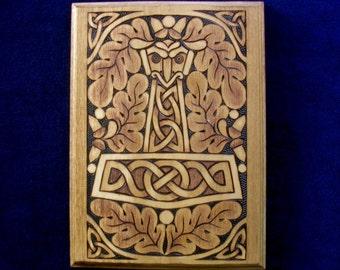 Eagle-Headed Mjollnir with Oak Leaves wood plaque
