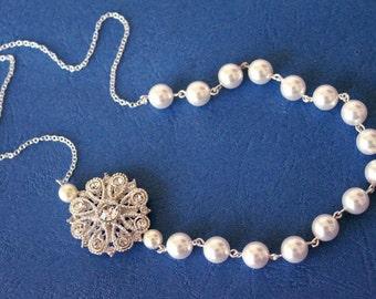 Swarovski Bridal Pearl Necklace, Rhinestone brooch necklace, vintage style jewelry, bridal pearl jewellery, wedding