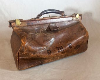Vintage Antique Leather 1900 Doctors bag Glasgow & Edinburgh