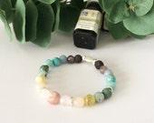 Essential Oil Bracelet, stretch bracelet, gemstone bracelet, diffuser bracelet, diffuser jewelry, Lava beads, beaded bracelet, rainbow baby