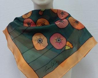 Foulard of natural hand painted silk. Unique design. Unique piece. Scarf Poppies orange, special scarves,