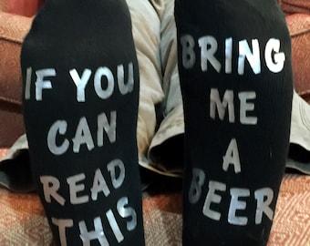 Beer socks, Bring me beer, If you can read this socks, Adult socks, Gag gift