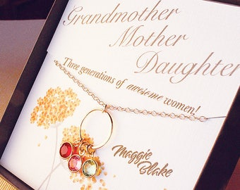 Grandmother mother daughter birthstone necklace grandmother mothers day three generations necklaces gift for mom grandma birthstone jewelry