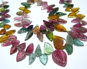 """AAA-Tourmaline Carved Leaves Briolettes-7.50"""" Strand -Stones measure- 5-12mm Long."""