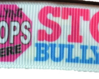 """Stop End No Bullying Bully Free Zone 7/8"""" Grosgrain Ribbon for Hair Bows, Kids Crafts, Scrapbooks, Cards Making"""