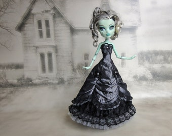 Long grey and black  victorian dress hand made fits Monster High doll