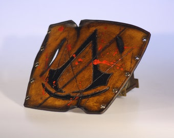 steampunk leather bracer , distressed assasins creed edition (made to order)