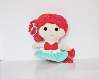 Retro Red Mermaid Plush Doll